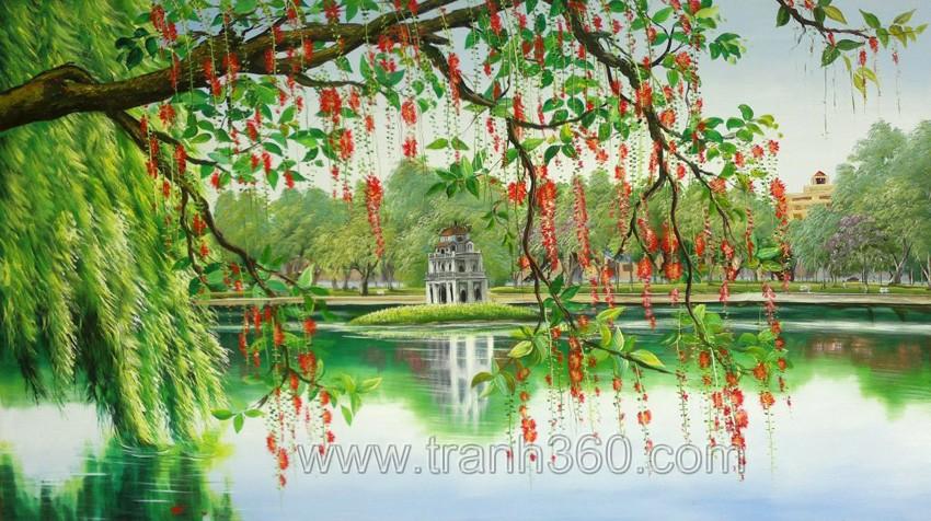 Tranh phong cảnh hồ Gươm với tháp Rùa