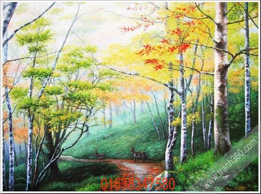Tranh sơn dầu phong cảnh đẹp về rừng cây