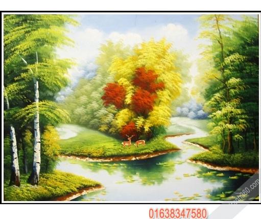 Tranh sơn dầu phong cảnh nước ngoài đẹp treo phòng khách