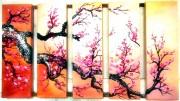 Tranh bộ sơn dầu hoa đào