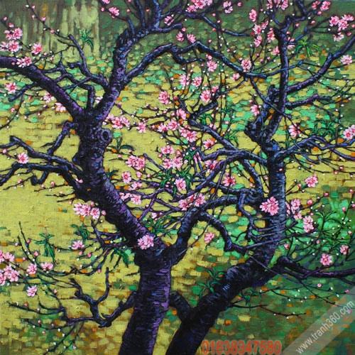 Tranh hoa đào Nguyễn Hữu Khoa