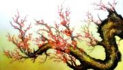 Tranh hoa đào sơn dầu