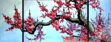 Tranh Tết bộ hoa đào