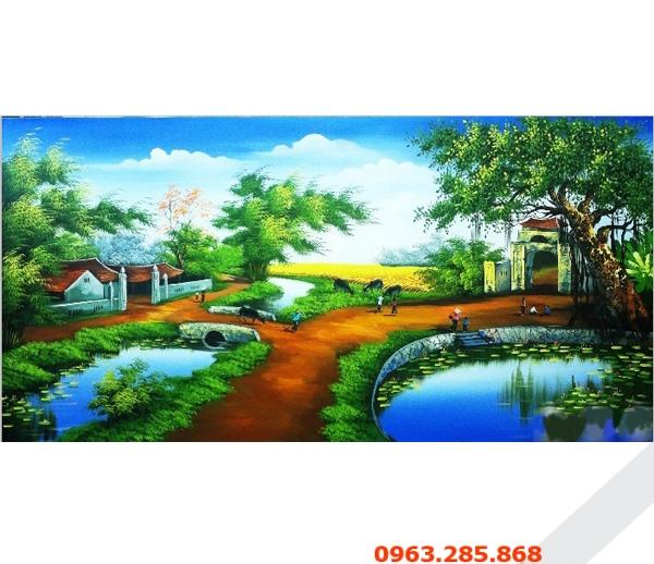 Tranh sơn dầu phong cảnh đồng quê đẹp và yên bình