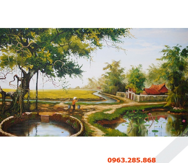 Tranh son dau phong canh dong que Viet Nam