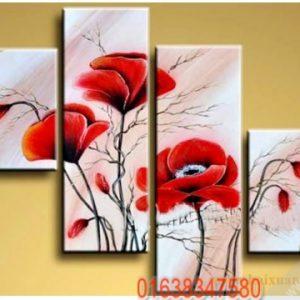 Bộ 4 tranh sơn dầu đẹp