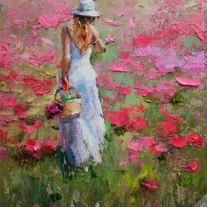 Tranh thieu nu tren dong hoa
