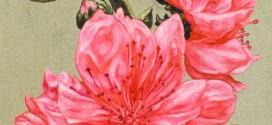Vẻ đẹp của hoa đào trong tranh sơn dầu Nguyễn Hữu Khoa